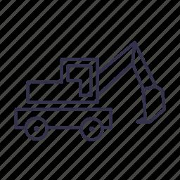 digger, excavator, truck, vehicle icon