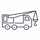 excavator, hoist, jack, truck, vehicle icon