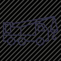 excavator, hoist, jack, truck, vehicle icon