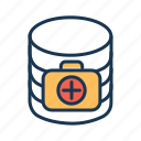 healthcare database, healthcare server, medical database, medical server, patient information icon