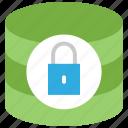 data center, database security, locked, protected database icon