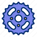 bicycle, bike, chain, gear, sprocket icon