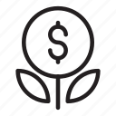 bank, grow, money, plant, savings icon icon