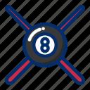 ball, billiard, sport, stick icon