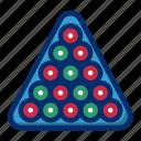 balls, billiard, rack, sport, triangle