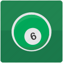 ball, billiard, billiards, pool, six icon