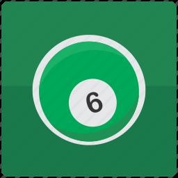 ball, billiard, billiards, pool, six icon