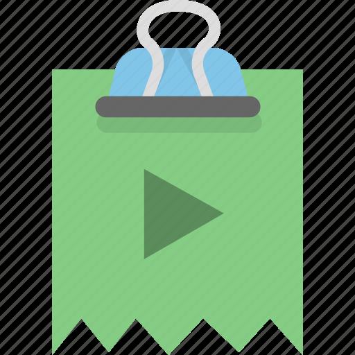 attachment, binder, document, file, video icon
