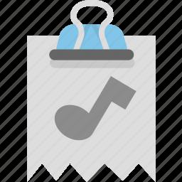 attachment, audio, binder, document, file, music icon