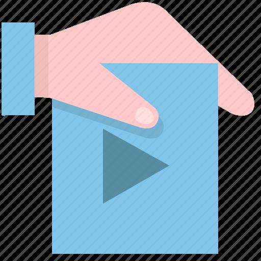 attachment, binder, hand, media, multimedia, social, video icon