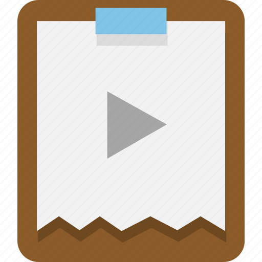 clipboard, documents, office, video icon