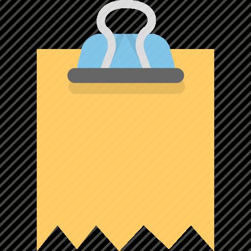 attachment, binder, document, file, finance, invoice, receipt icon