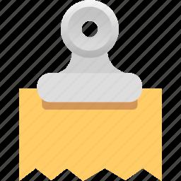 attachment, binder, document, file, inovice, paper, receipt icon