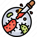 petri, dish, dropper, biology, laboratory, bacteria icon
