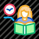 bird, book, encyclopedia, girl, ornithology, reading, woman