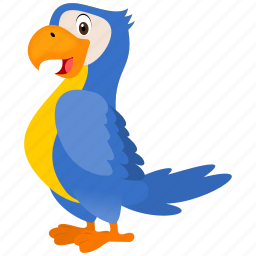 animal, bird, blue, guacamaya, yellow icon
