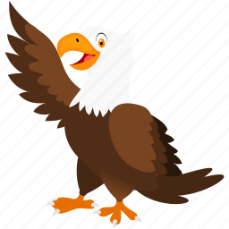 animal, bird, brown, eagle, white icon