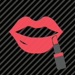 concealer, lip, lip gloss, lipstick, makeup, powder, women icon