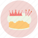 birthday, birthday cake, cake, candle, crown icon