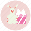 birthday, box, gift, rabbit icon