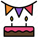 birthday, decoration, flag, happy, party icon