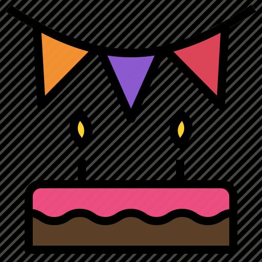 birthday, decoration, flag, happy, party icon