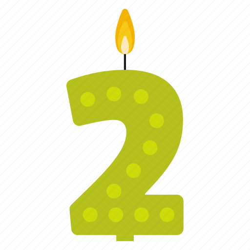 Anniversary Birthday Cake Candle Number Two Year Icon