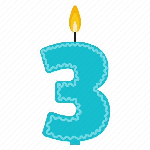 Anniversary Birthday Cake Candle Number Three Year Icon