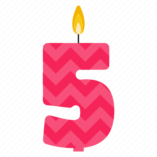 Anniversary Birthday Cake Candle Five Number Year Icon