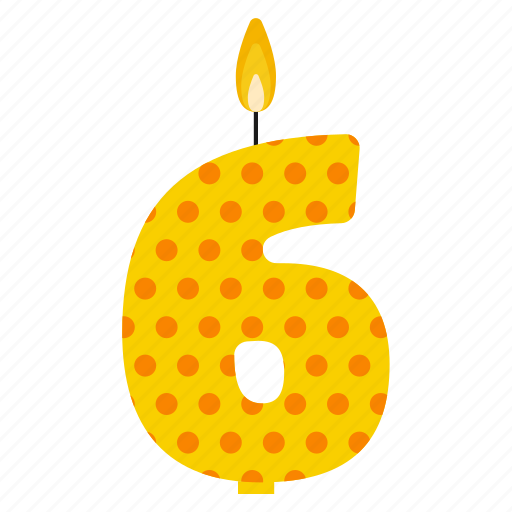 anniversary, birthday, cake, candle, number, six, year icon
