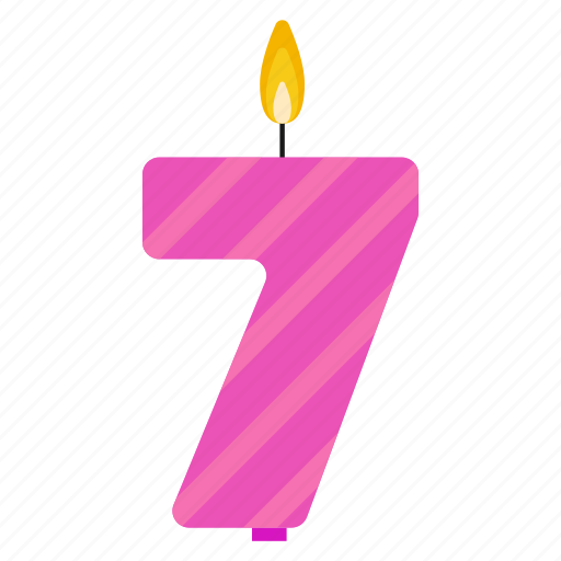 anniversary, birthday, cake, candle, number, seven, year icon