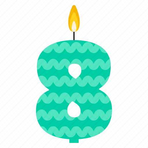 anniversary, birthday, cake, candle, eight, number, year icon