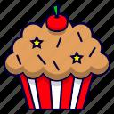 birthday, cake, celebration, cherry, cupcake