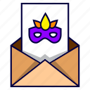 birthday, celebration, disguise, invitation, letter, party