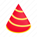 birthday, cap, fun, hat, isometric, new, striped icon