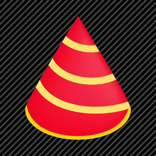 birthday, cap, fun, hat, isometric, new, striped icon