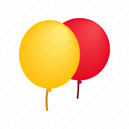 ballons, birthday, decoration, glossy, holiday, isometric, two icon