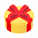 box, day, decoration, gift, isometric, round, wrap icon