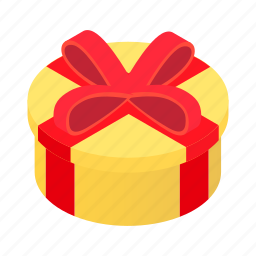 box, day, decoration, gift, isometric, round, wrap icon
