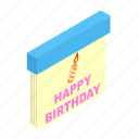 annual, birthday, calendar, date, day, decoration, isometric icon