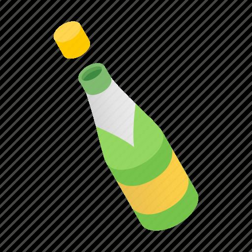 beverage, bottle, cap, celebration, champagne, drink, isometric icon
