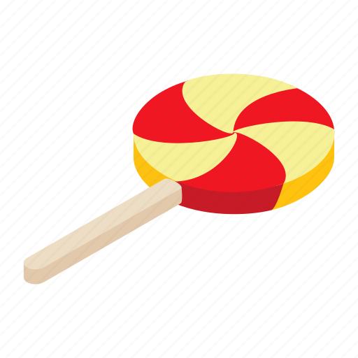 candycane, decoration, dessert, isometric, lollipop, stick, white icon
