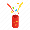 birthday, carnival, confetti, gift, isometric, shooting, slapstick icon