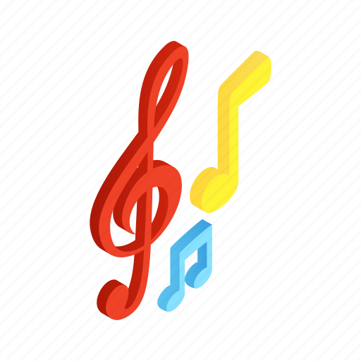 isometric, music, musical, notes, paper, song, tone icon