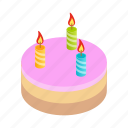 birthday, cake, candles, celebration, food, isometric, party icon