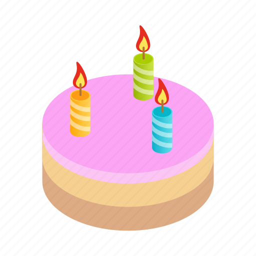 birthday, cake, candles, celebration, food, isometric, party icon