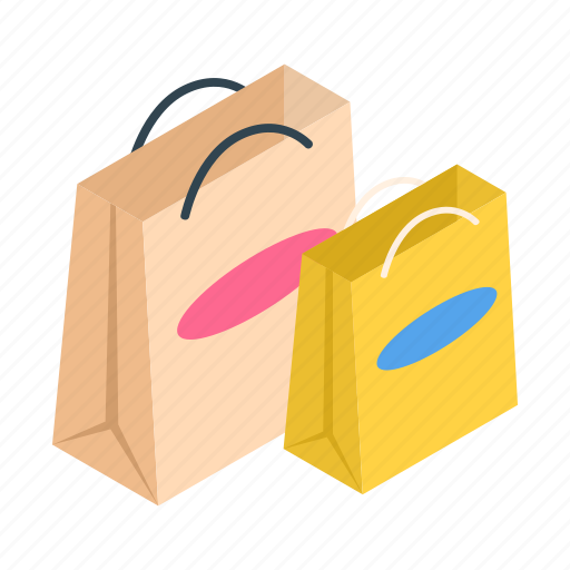 bags, beautiful, blank, buy, isometric, paper, shopping icon