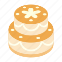 anniversary, birthday, cake, decoration, greeting, isometric, sweet icon
