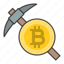 bitcoin, bitcoin mining, blockchain, cryptocurrencty, digital currency, mining, pickaxe icon
