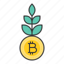 bitcoin, blockchain, cryptocurrencty, digital currency, grow, growth icon